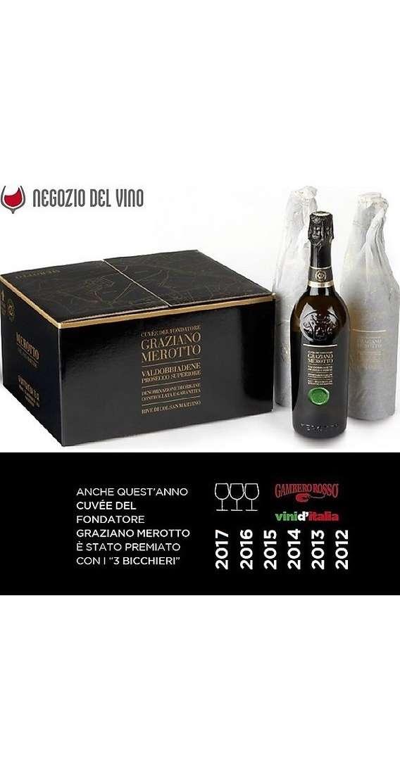 """6 bottiglie di Cuvéè del Fondatore """"Graziano Merotto"""" Valdobbiadene Prosecco Superiore Brut DOCG Rive"""