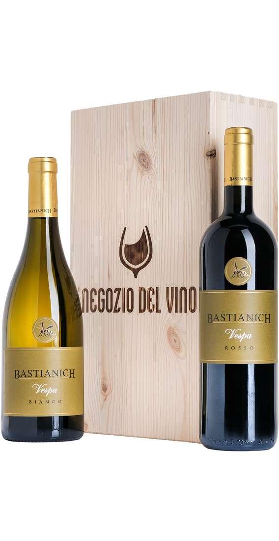 Cassa di Legno 2 Vini Bastianich Vespa Bianco e Vespa Rosso