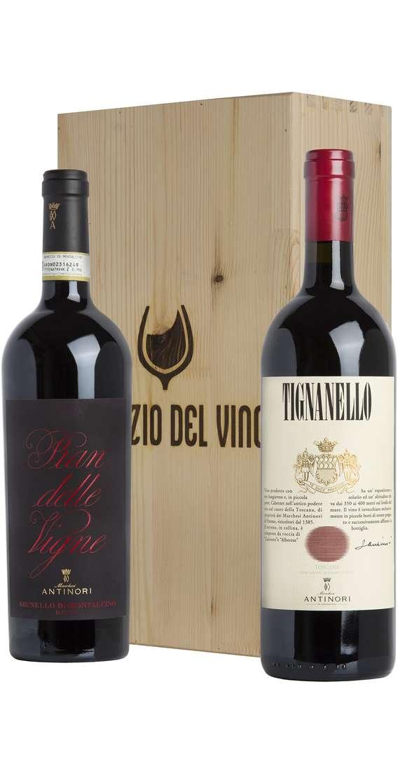 Cassa di Legno 2 Vini Tignanello 2017 e Brunello Montalcino 2015