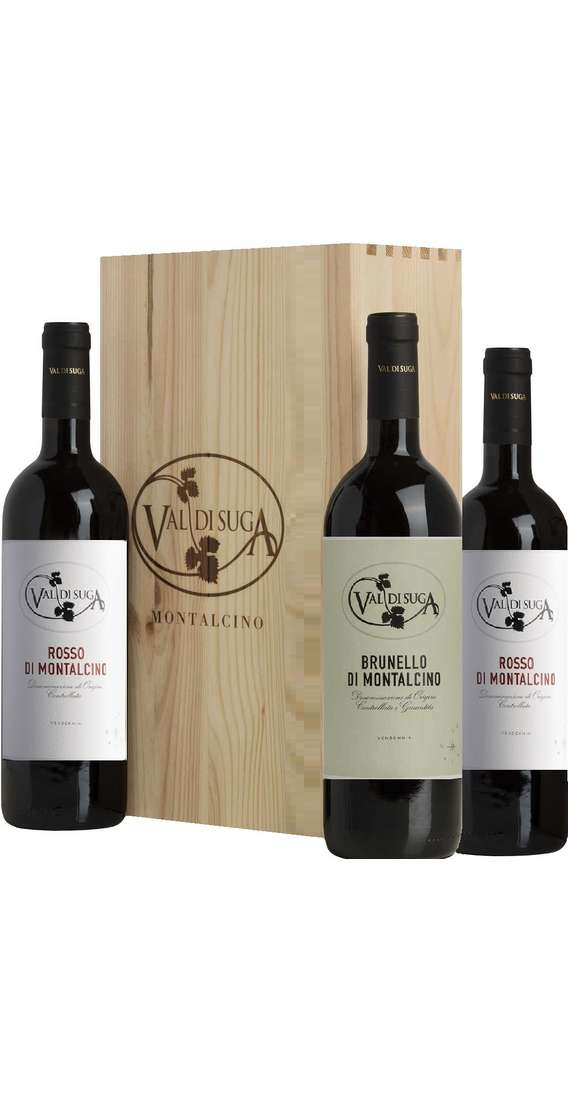 Cassa di Legno 3 Vini Brunello e Rosso di Montalcino
