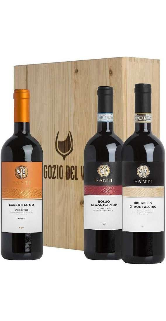 Cassa di Legno 3 Vini Brunello, Rosso Montalcino e Sant'Antimo