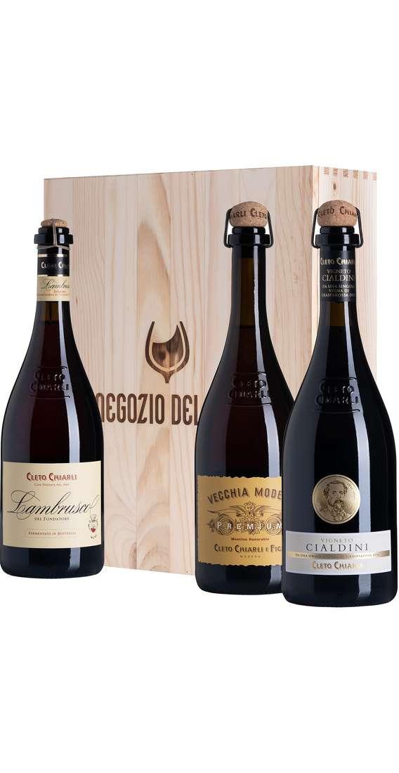 Cassa di Legno 3 Vini Lambrusco Fondatore, Vigneto Cialdini e Premium