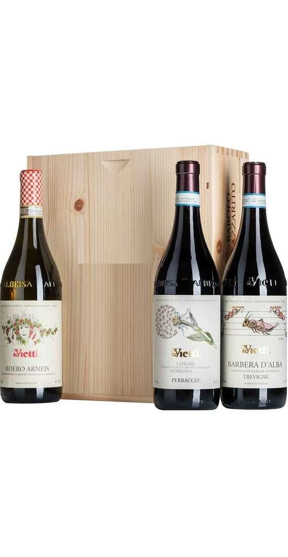 Cassa di  Legno 3 Vini Nebbiolo, Barbera e Roero Arneis