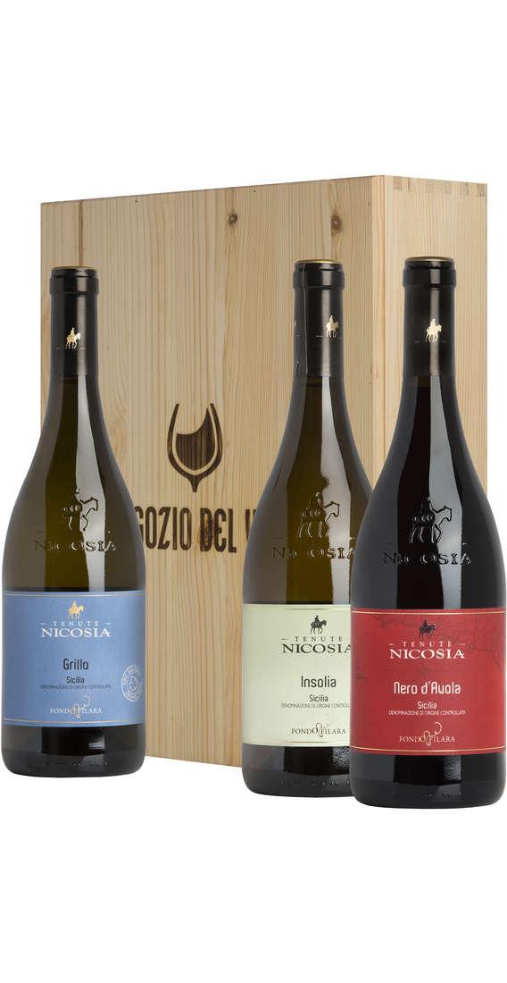 Cassa di Legno 3 Vini Nero d'Avola, Insolia e Grillo