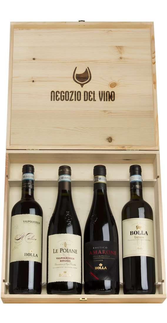 Cassa di Legno 4 Vini Amarone, Ripasso, Valpolicella e Custoza