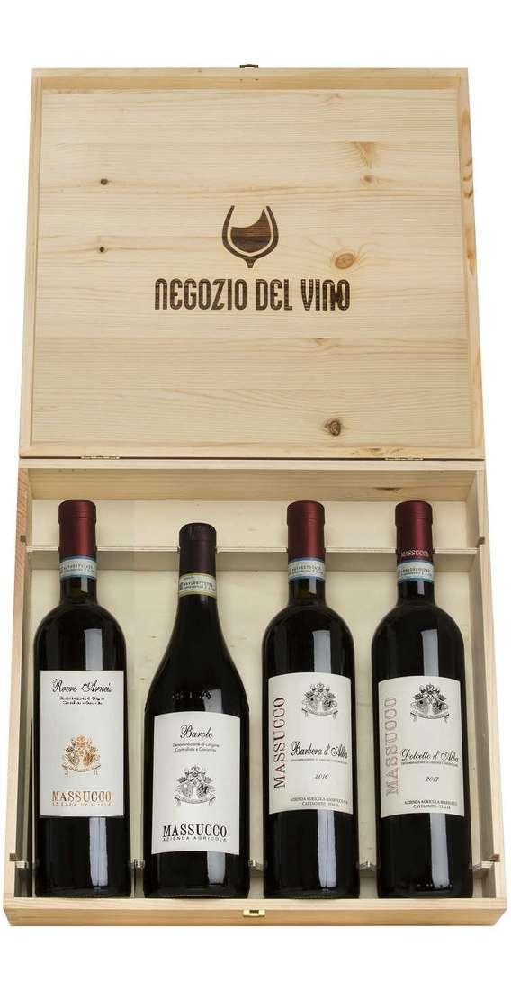 Cassa di Legno 4 Vini Barolo, Barbera, Dolcetto e Roero Arneis