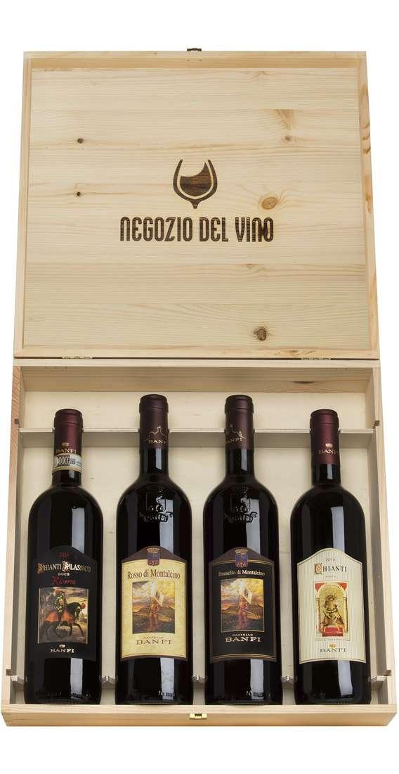 Cassa di Legno 4 Vini, Brunello, Rosso Montalcino, Chianti Riserva e Chianti