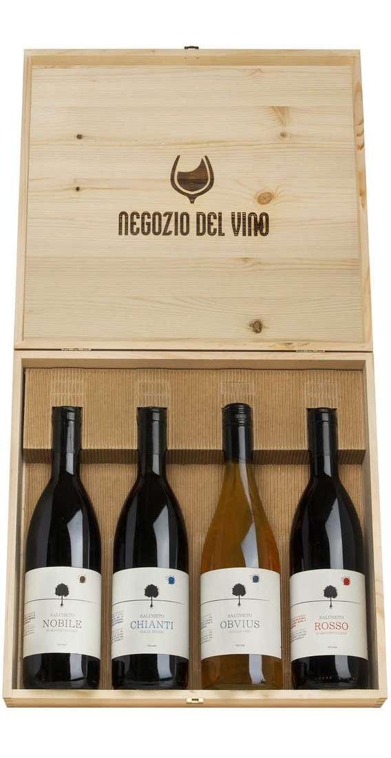 Cassa di Legno 4 Vini, Nobile, Obvius Bianco, Chianti, Rosso Montepulciano