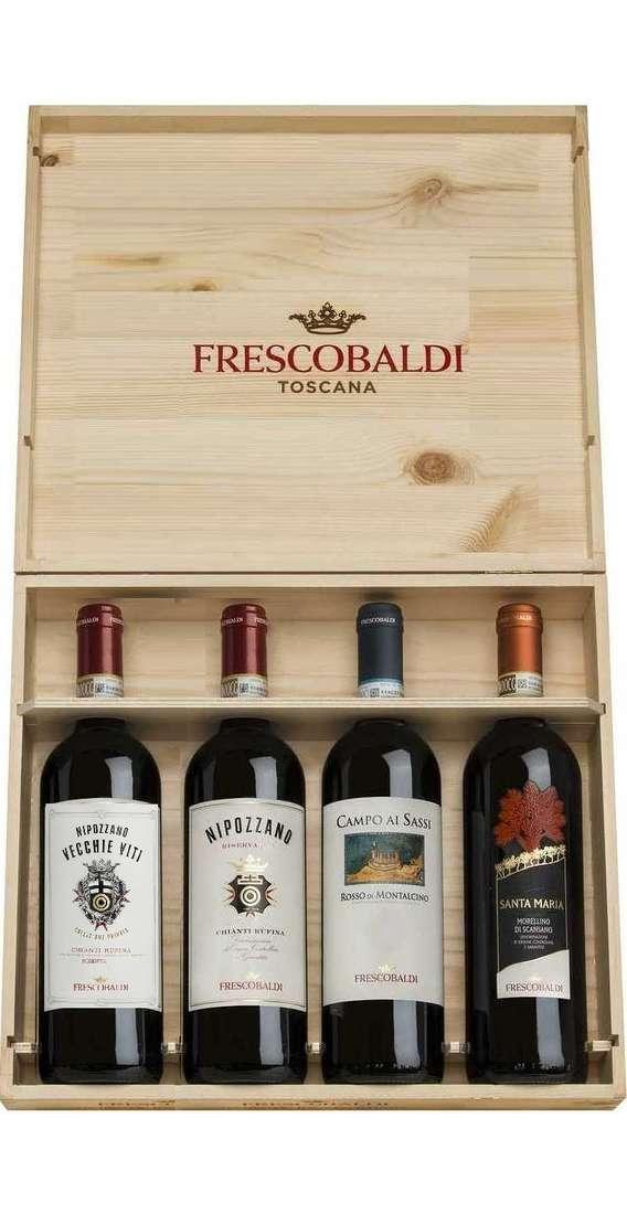 Cassa di Legno 4 Vini: Rosso Montalcino, Nipozzano, Nipozzano Vecchie Viti e Morellino
