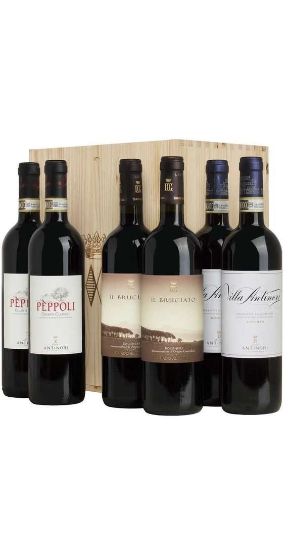 Cassa di Legno 6 Vini - 2 Bruciato, 2 Chianti Peppoli, 2 Chianti Riserva Villa Antinori