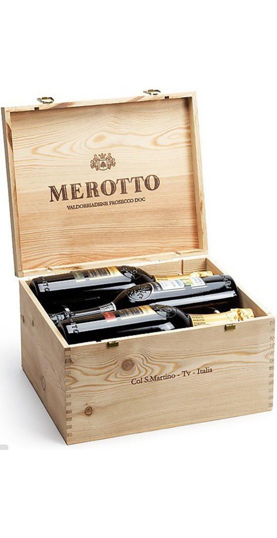 Cassa di legno contenente 6 Prosecchi Merotto