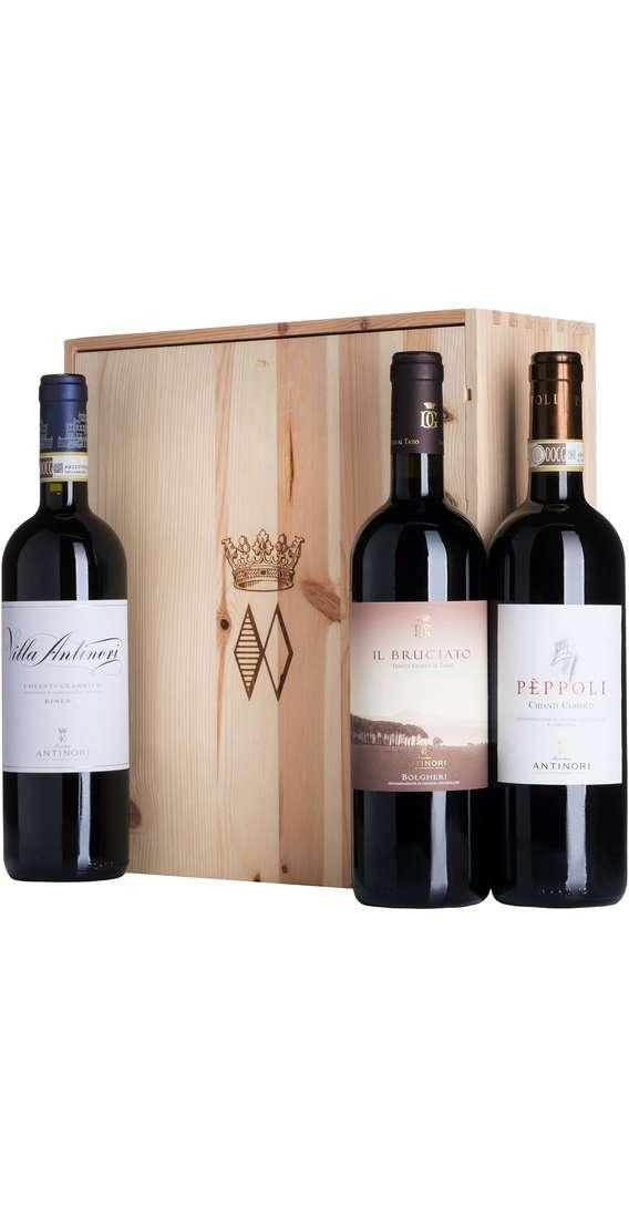 Cassa Legno 3 Vini - Bruciato, Chianti Riserva e Peppoli