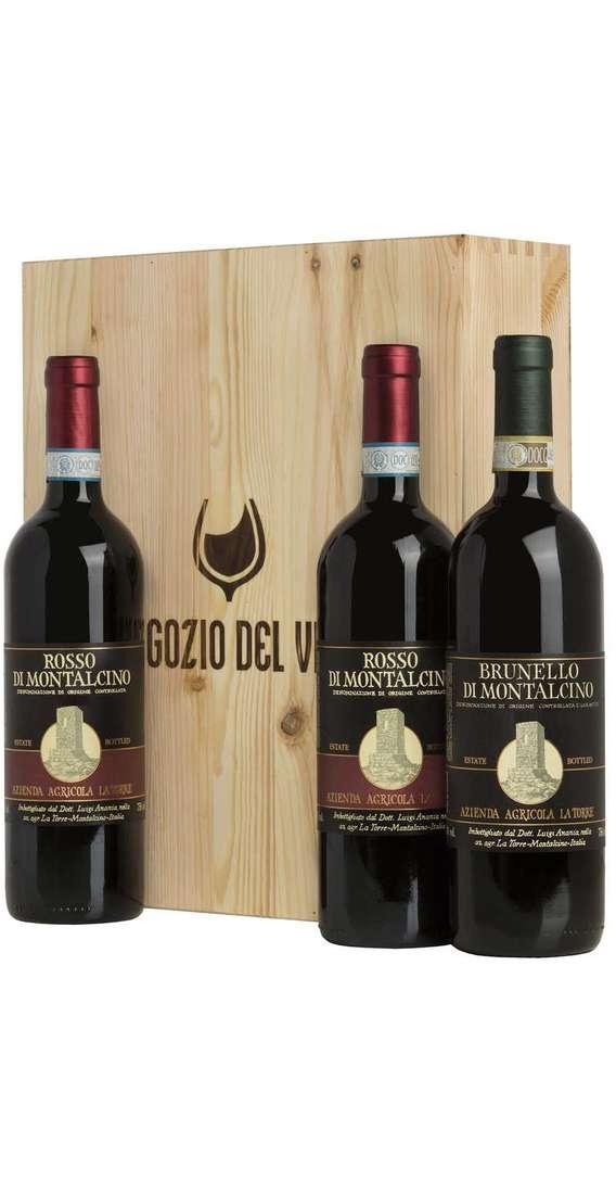 Cassa Legno 3 Vini Brunello Montalcino e Rosso Montalcino