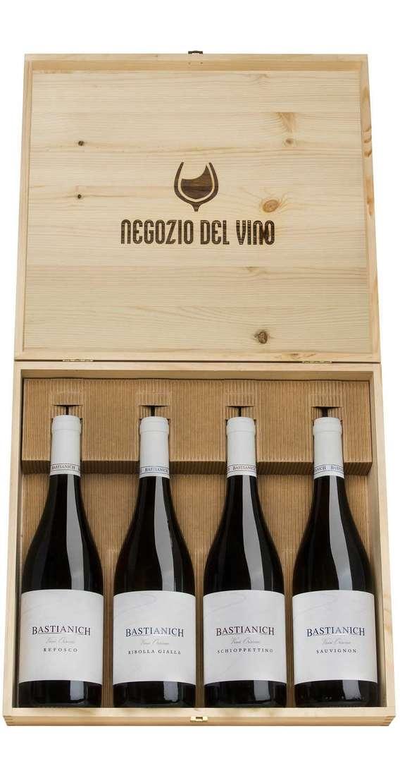 Cassa Legno 4 Vini Bastianich Sauvignon, Refosco, Ribolla Gialla e Schioppettino