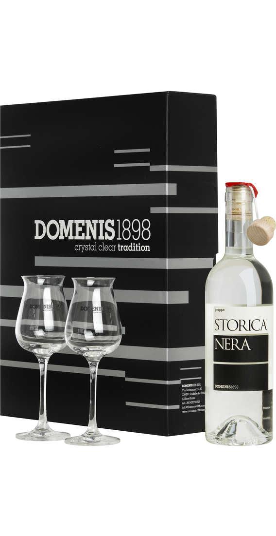 Confezione regalo Grappa DOMENIS Storica Nera con 2 bicchieri