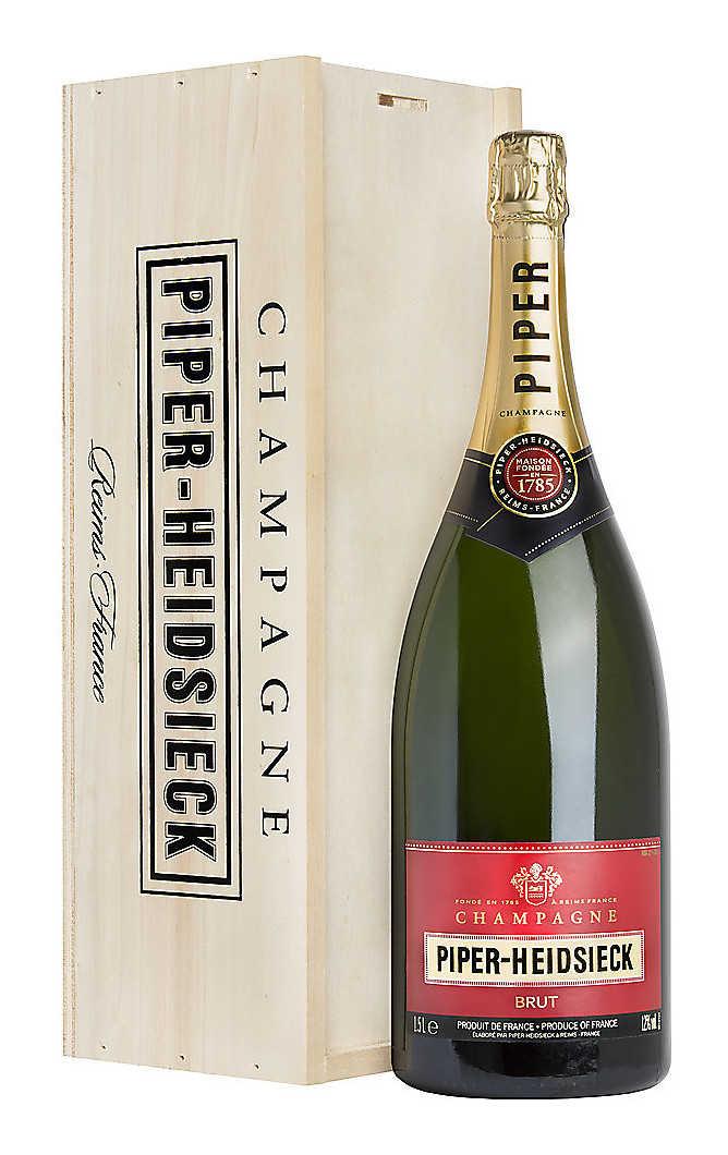Doppip magnum 3 litri champagne piper-heidsieck brut in cassa di legno