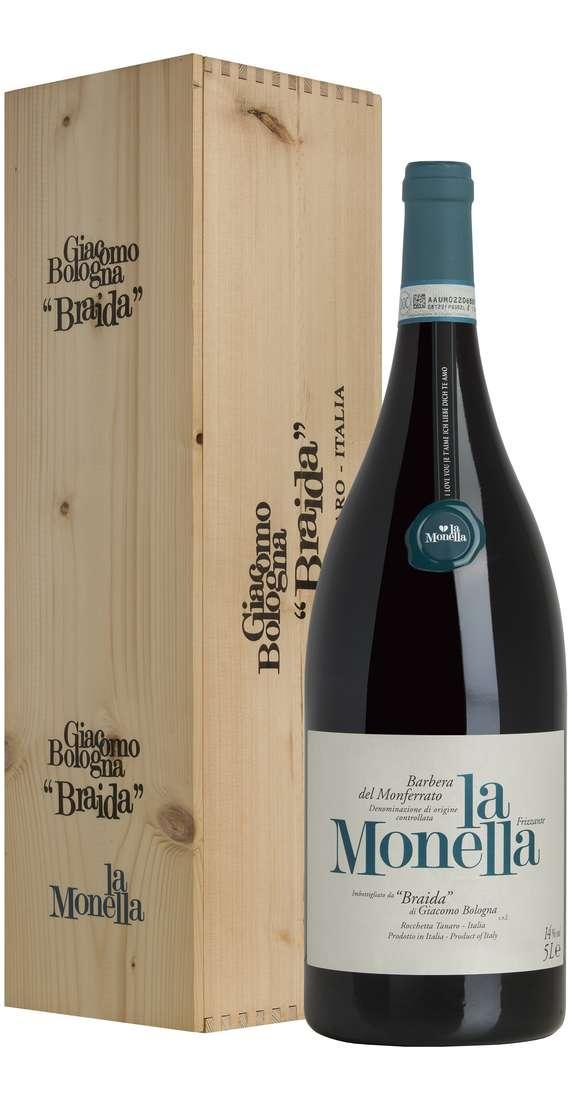 """Jeroboam 5 Litri Barbera del Monferrato """"La Monella"""" Frizzante DOC in Cassa Legno"""