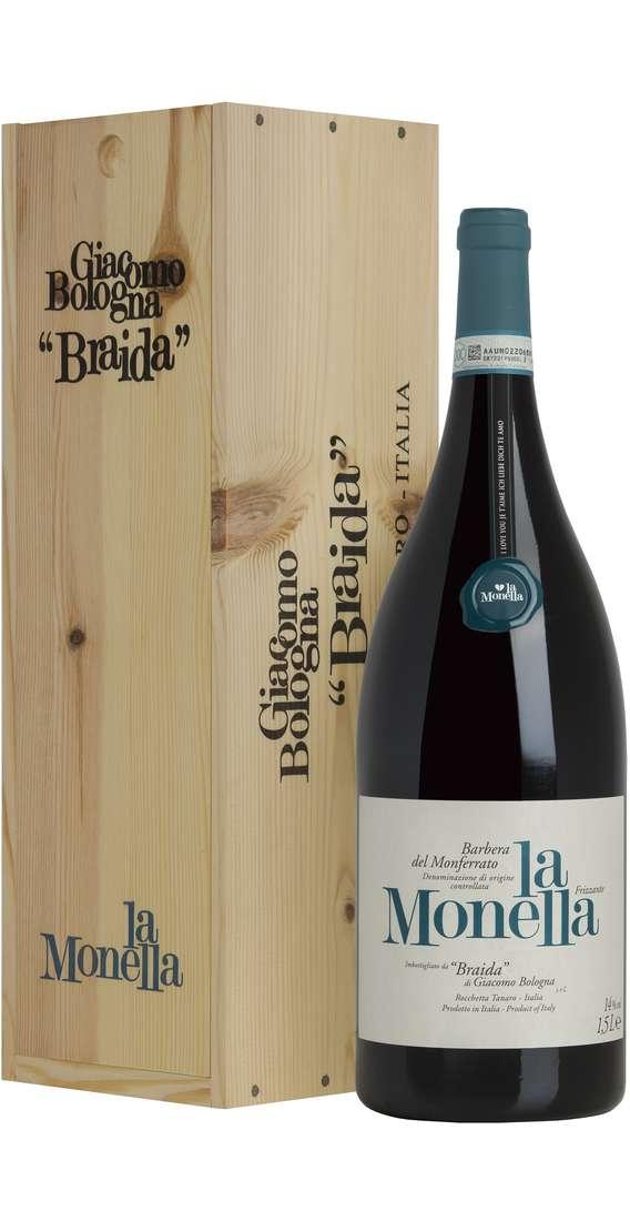 """Magnum 1,5 Litri Barbera del Monferrato """"La Monella"""" Frizzante DOC in Cassa Legno"""