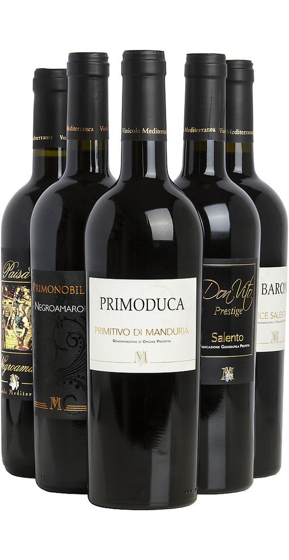 Selezione di 6 vini pugliesi cantina mediterranea